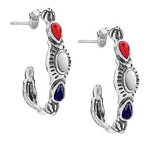 sterling silver red white blue gemstone dangle hoop earrings