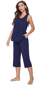 women pajamas bamboo viscose tank top sleepwear set sleeveless pjs capri pants loumgewear
