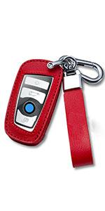 Red Leather Key Fob Cover Compatible with BMW with Keychain