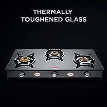 Preethi Blu Flame Sparkle Glass Top 3 Burner Gas Stove, Manual Ignition, Black3