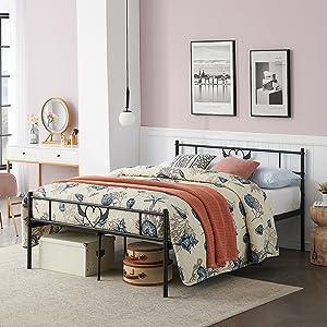 cadre de lit en métal avec tête de lit