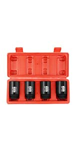 4Pcs 1/2-Inch Drive Deep 12-Point Spindle Axle Nut Impact Socket Set