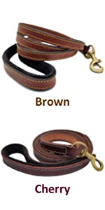 Pawficer Thick Leather Dog Leash Brown Cherry