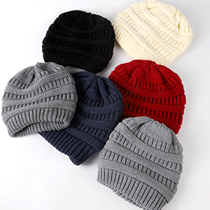 Knit Satin linned cable beanie for womens