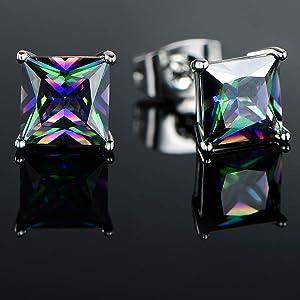 square rainbow stud earrings