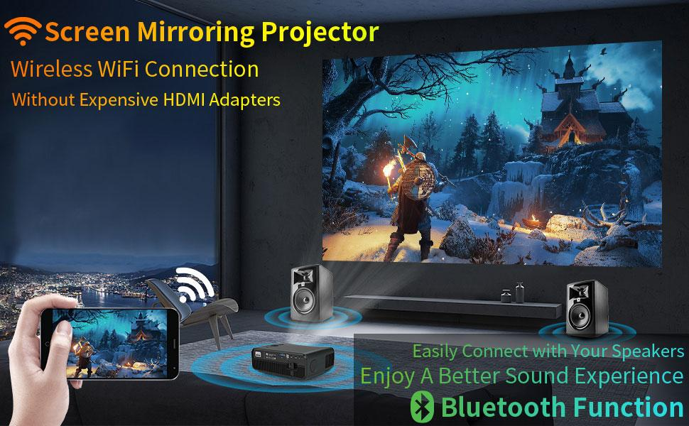 native 1080Pprojector screen mirroring projector party videogames projector wifi bluetooth projecto