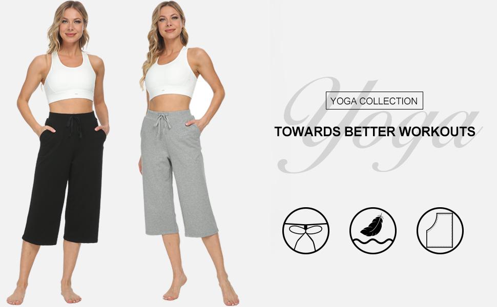Women's Active Yoga Lounge Indoor Jersey Capri Pant Adjustable Drawcord Walking Crop Pants