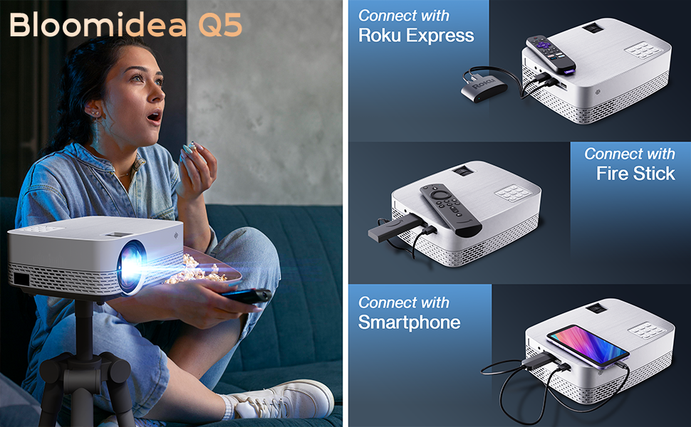 Q5 projector supports multimedia connection