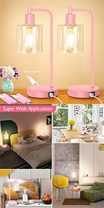 Pink Dimmable Touch Lamps Set of 2