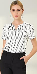 Dots Printed V Neck Office Blouse