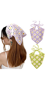 Crochet Daisy Hair Bandana Head Scarf(Purple/Green)