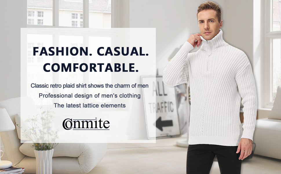 Conmite Men's Casual Slim Fit Turtleneck Pullover Sweaters Knitted Pattern Sweater