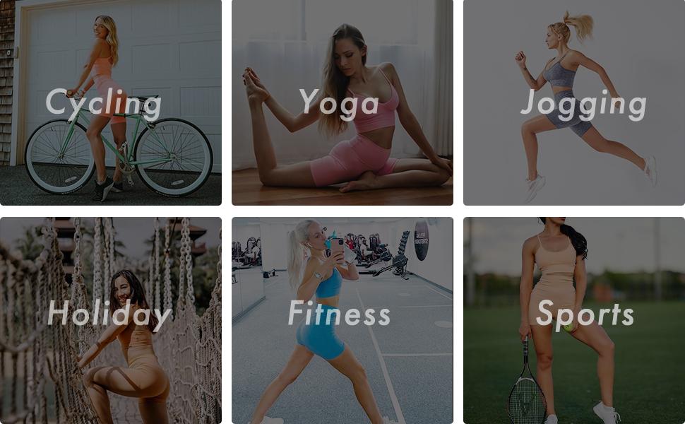 Biker Shorts Women Sports Bra Sets Suitable for Various Occasions