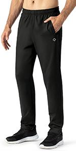 NAVISKIN Mens Yoga Straight Leg Pants Joggers Running Workout Open Bottom Sweatpants with Pockets