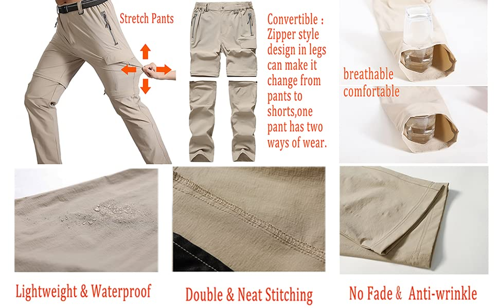 Men's Work Pant Stretch Quick Dry Zip Off Hiking Pants Cargo Pants for Outdoor Mountain