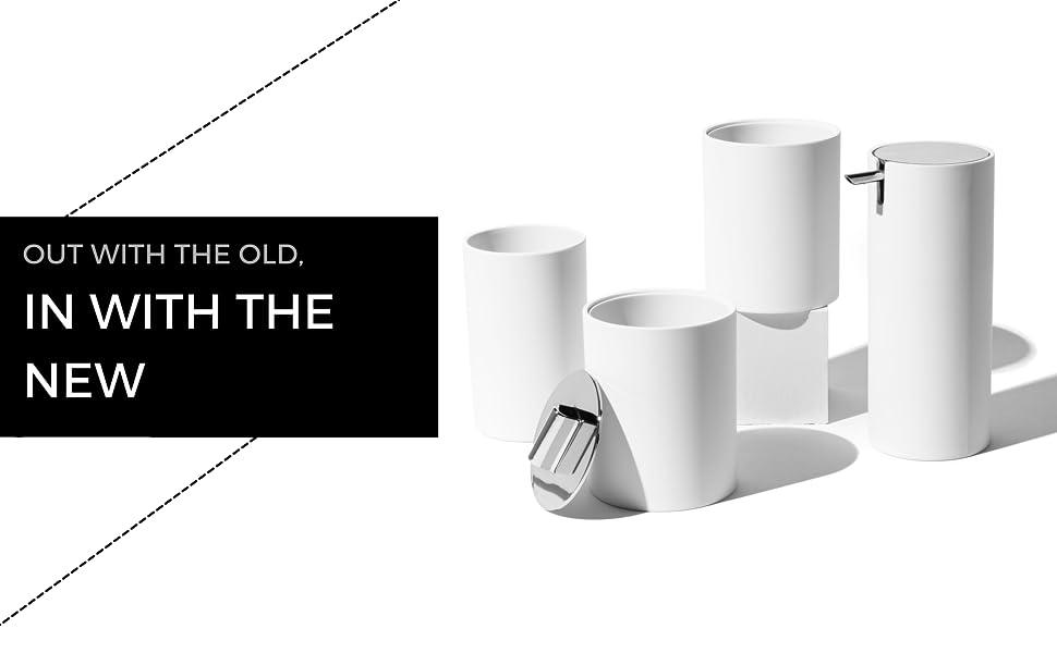 white bathroom accessories set, modern bathroom set, white soap dispenser, white toothbrush holder