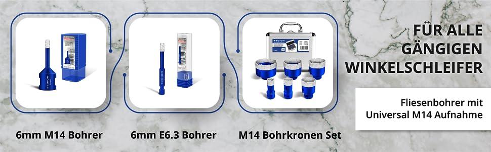 Voor alle gangbare haakse slijpers tegelboor met universele M14-opname