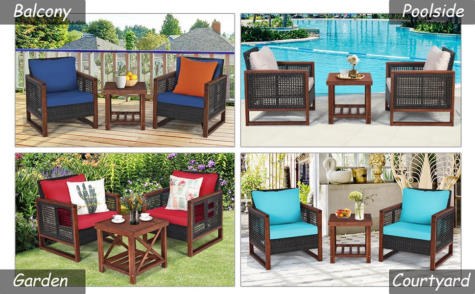 patio set with coffee table for 2