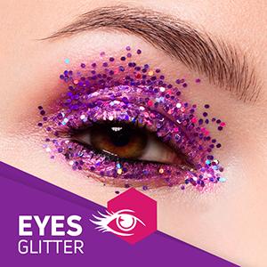 Glitter implement on eye