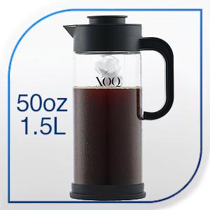 XOQute cold brew maker XOQ  LARGE 50-OZ CAPACITY  t  t  2  LARGE 50-OZ CAPACITY