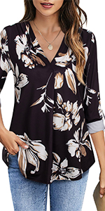 3/4 Roll Up Sleeve Tunics Tops Dress Office Shirts