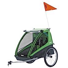 bike trailer, bike cart, bike wagon, double bike trailer, safety features, reflective flag