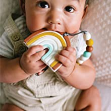 Loulou Lollipop Rainbow silicone teether with holder, easy to clean