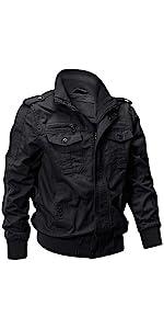 EKLENTSON Bomber Jacket Men Spring Aviator Slim Fit Military Golf Coats Outwear