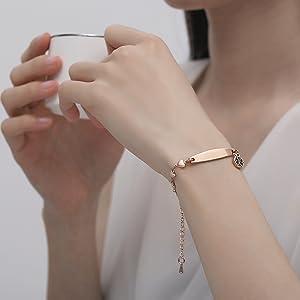 Rose gold heart medical id bracelets for women