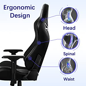winged back, racing chair with body-hugging design for natural curvature