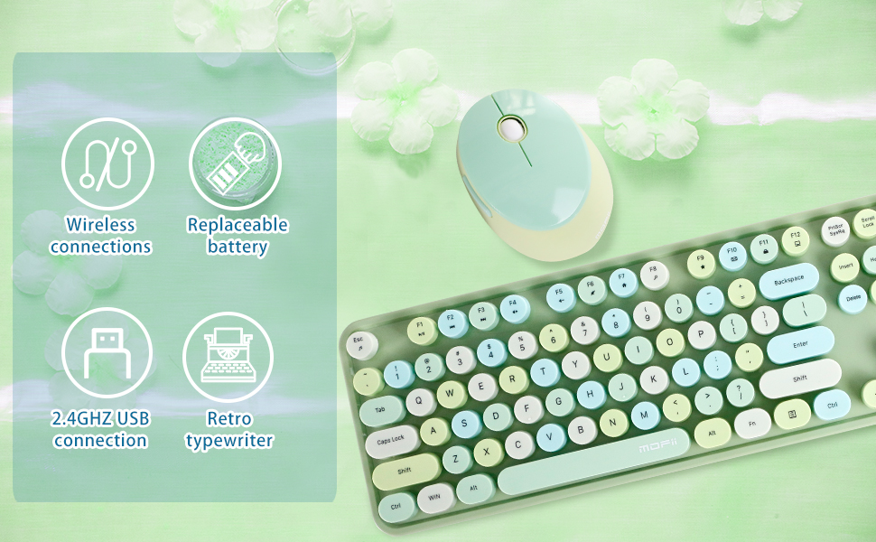 keyboard wireless  mouse typewriter bluetooth  computer combo   mice accessories  usb sage  green
