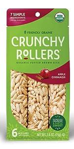 Friendly Grains Crunchy Rollers Apple Cinnamon. Allergen Friendly snacks.