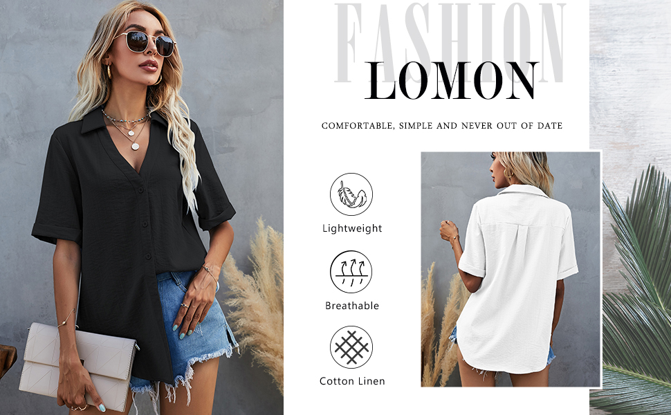 LOMON Womens Short Sleeve Button Down Shirts Cotton Linen Collared V Neck Tops Blouses
