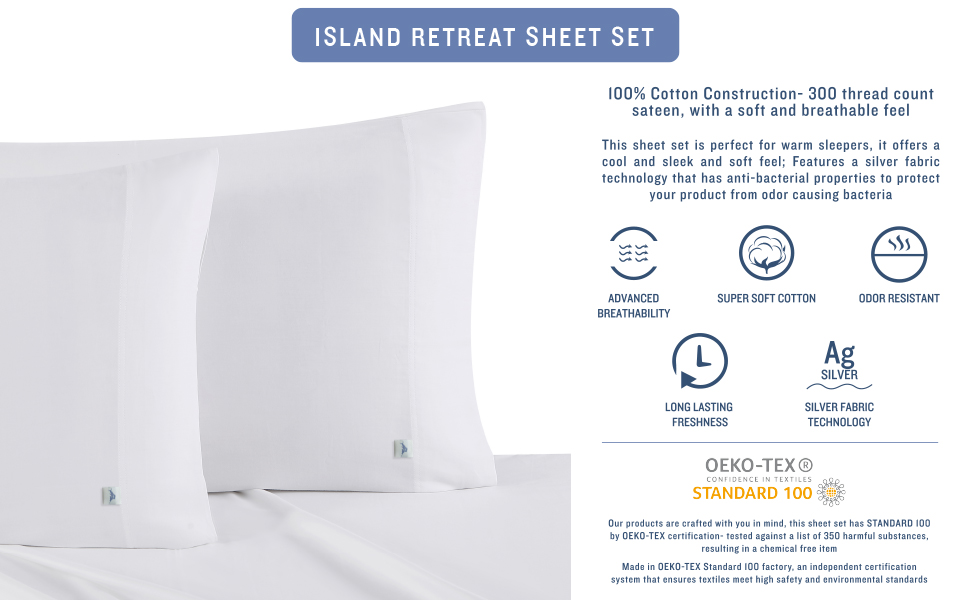 Solid Sheet Style, Island Retreat, Tommy Bahama, Solid, Sheet Set, Sheet, flat, Fitted, pillow case