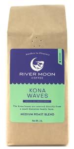 Kona ground coffee blend hawaiian medium roast 1lb hawaii arabica river moon US