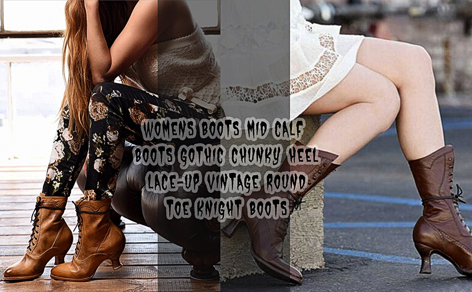 chunky heels mid calf boots lace up boots for women