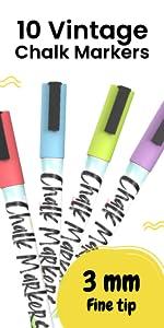 10 Vintage 3mm Chalk Markers