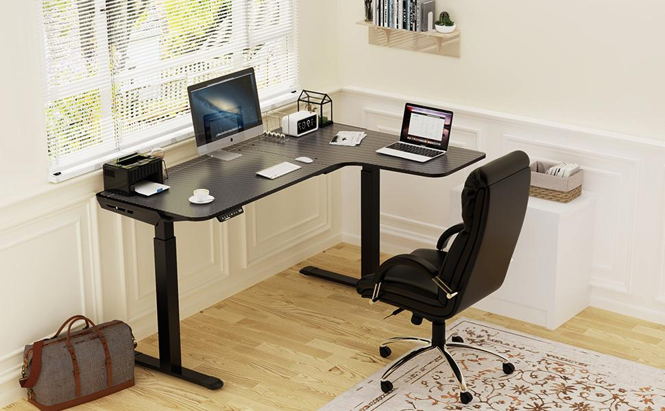 Dual Motor Height Adjustable Electric Standing Desk for Gaming and Home Office