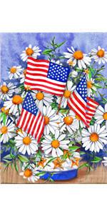 Daisy Flowers American Garden Flag
