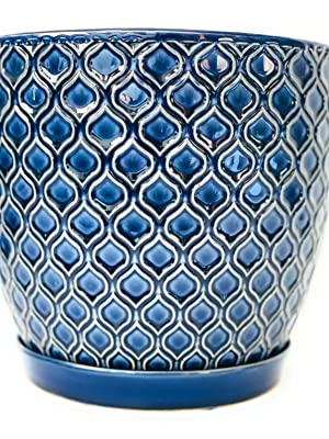 DREAM - Blue Embossed Ceramic Planter Pot with Tray