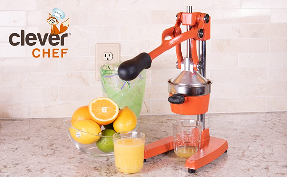 Clever Chef Professional Heavy Duty Citrus Juicer, Orange