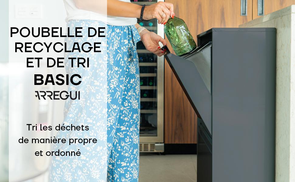 Poubelle de tri et de recyclage Basic 2 seaux