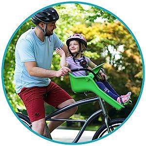 Child riding in the Kazam iBert Child Bike Seat