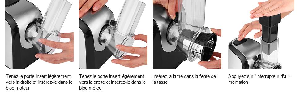 Fresh Express 4 en 1 Râpe et Hachoir Electrique 150W
