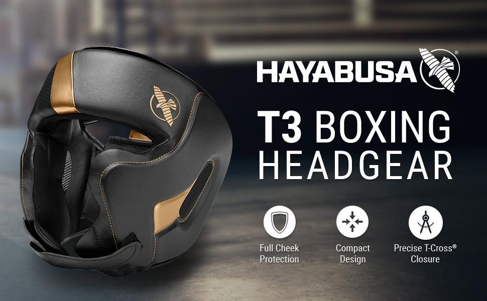 Hayabusa Black Gold T3 Boxing Headgear Full cheeck Protection compact design T-Cross Closure