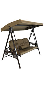 Sunnydaze 3-Person Adjustable Tilt Canopy Patio Swing with Attached Side Table