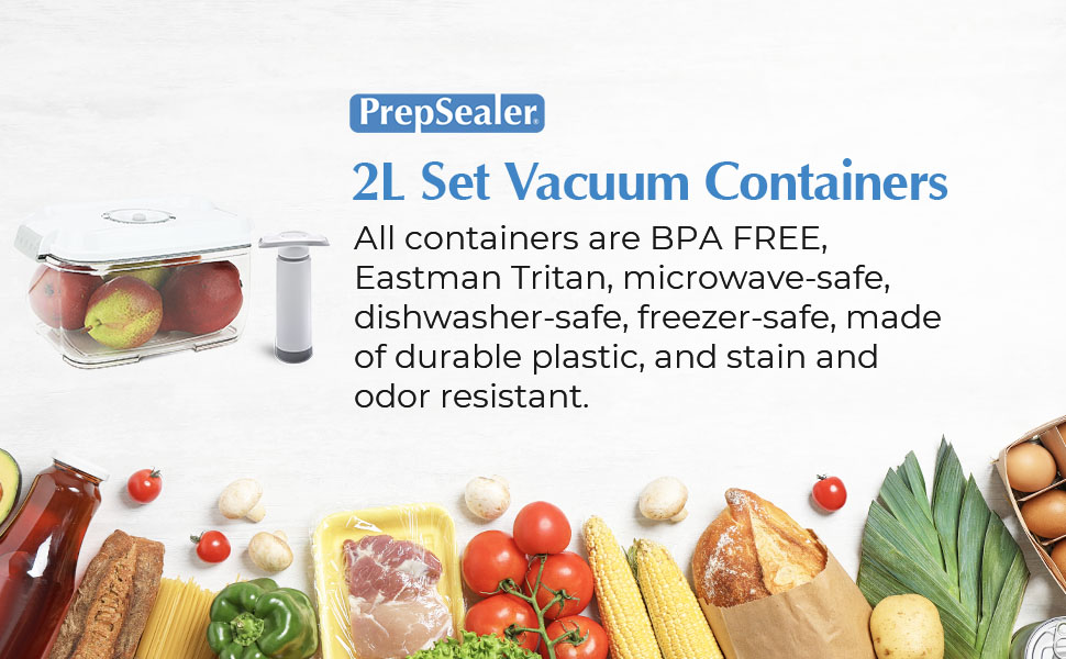 square 2pcs vacuum container dishwasher safe freezer safe durable plastic stain odor resistant food