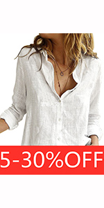 Womens V Neck Roll up Sleeve Button Down Blouses Tops