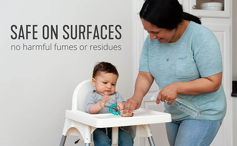 Family friendly cleaner! Baby safe and kid safe. Safe on all surfaces including toys & high chairs.