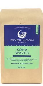 Kona coffee beans blend whole hawaiian medium roast 2lbs bulk gourmet hawaii arabica river moon